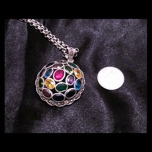Colourful jewelled circle pendant